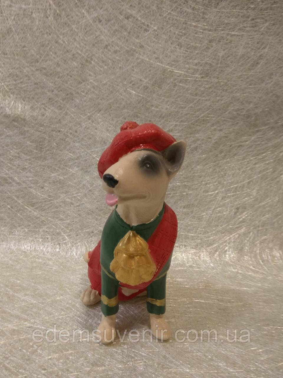 Статуэтка собака (собачка) бультерьер в шляпе