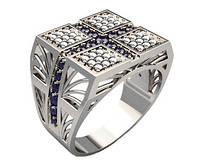 Кольцо серебряное Крест в камнях