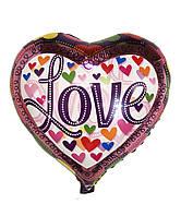 "Шар фольгированный ""Сердца Love"", 43 х 48 см"
