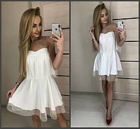Элегантное выходное вечернее платье с фатином и открытыми плечами белое 42-44 44-46, фото 1