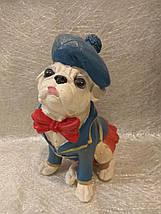 Статуэтка собака Мопс в синей шляпе, фото 2