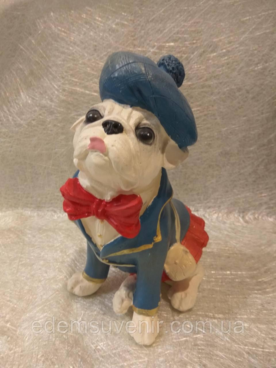 Статуэтка собака Мопс в синей шляпе