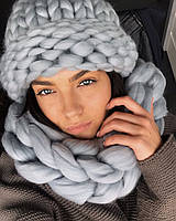 Комплект шапка и снуд гигантской вязки 100% шерсть мериноса (Серебро)