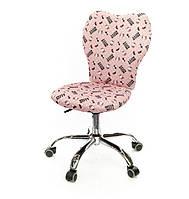 Кресло детское на колесиках Джокей CH PR розового цвета из такани