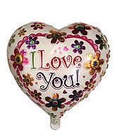 """Шар фольгированный сердце """"Цветы"""", 43 х 48 см"""