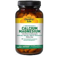 Кальций магний (Calcium Magnesium) с витамином Д3, Country Life, 240 капсул
