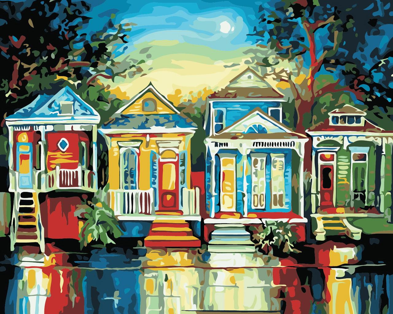 Художественный творческий набор, картина по номерам Цветные домики, 50x40 см, «Art Story» (AS0372)