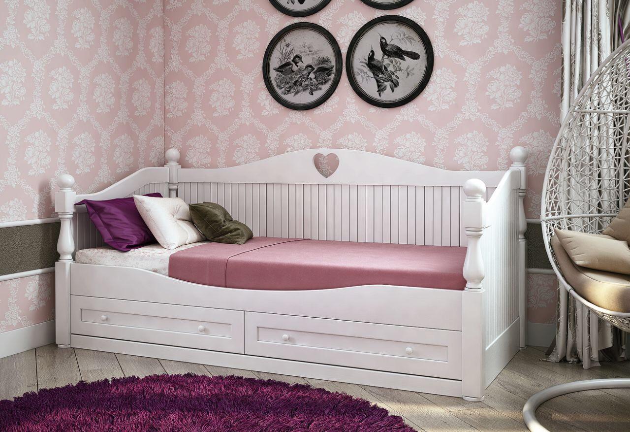 Кровать детская подростковая резная, массив дуб, ясень, ольха