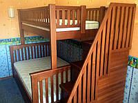 Двухярусная кровать со ступеньками ящиками Владимир Плюс, массив ольха, ясень, фото 1