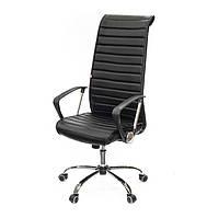 Кресло офисное на колесиках Дели CH TILT черного цвета из экокожи