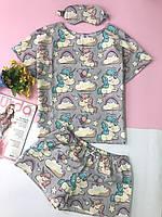 Пижамка в Единороги Женская. Хлопковая пижама. Комплект для сна и дома