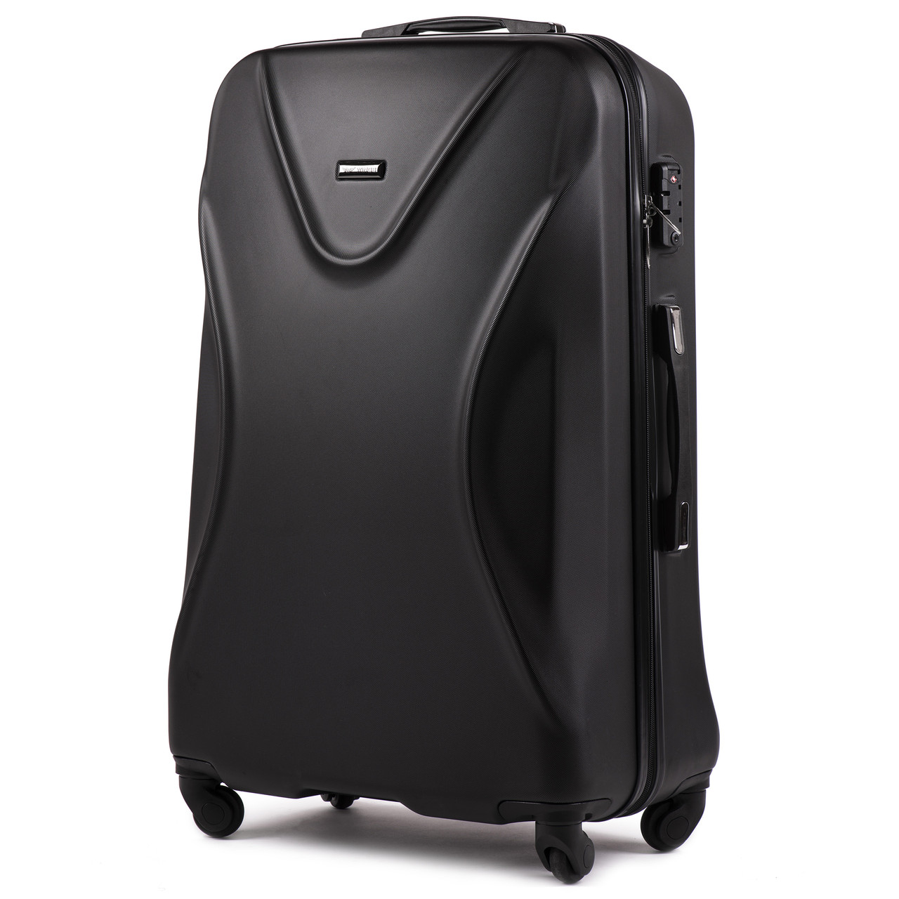 Средний пластиковый чемодан Wings 518 на 4 колесах черный
