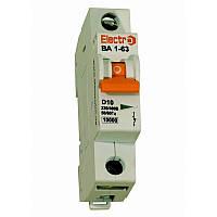 Модульный автоматический выключатель ВА1-63 1P, 6A, 10кА, D, Electro