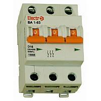 Модульный автоматический выключатель ВА1-63 3P, 16A, 10кА, D, Electro  , фото 1