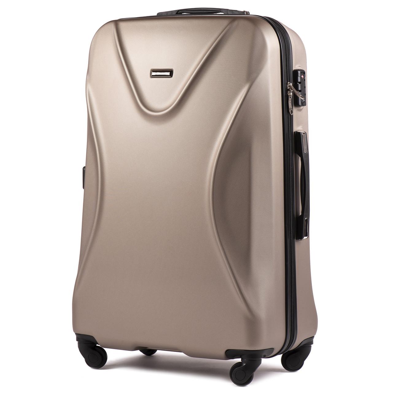 Средний пластиковый чемодан Wings 518 на 4 колесах золотистый