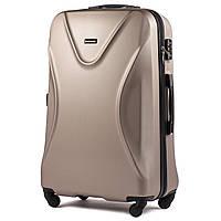 Средний пластиковый чемодан Wings 518 на 4 колесах золотистый, фото 1