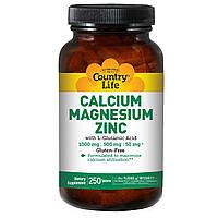 Кальций магний цинк (Calcium Magnesium Zinc) с витамином Д3, Country Life, 250 таблеток