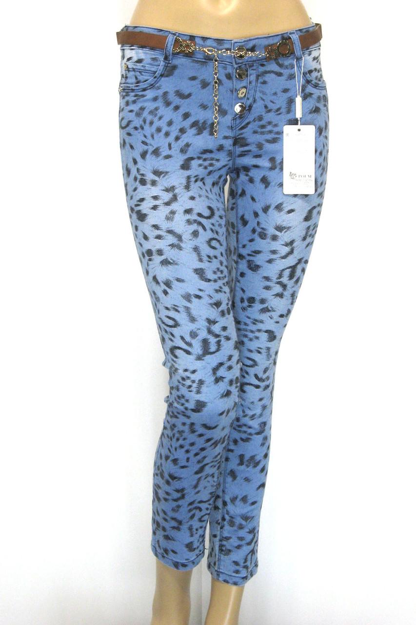 Женские джинсы принт леопард заниженая талия