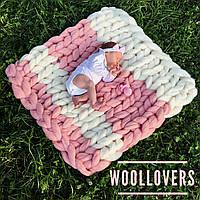 Детский плед в коляску, кроватку, на выписку и для фотосессии 100% шерсть мериноса