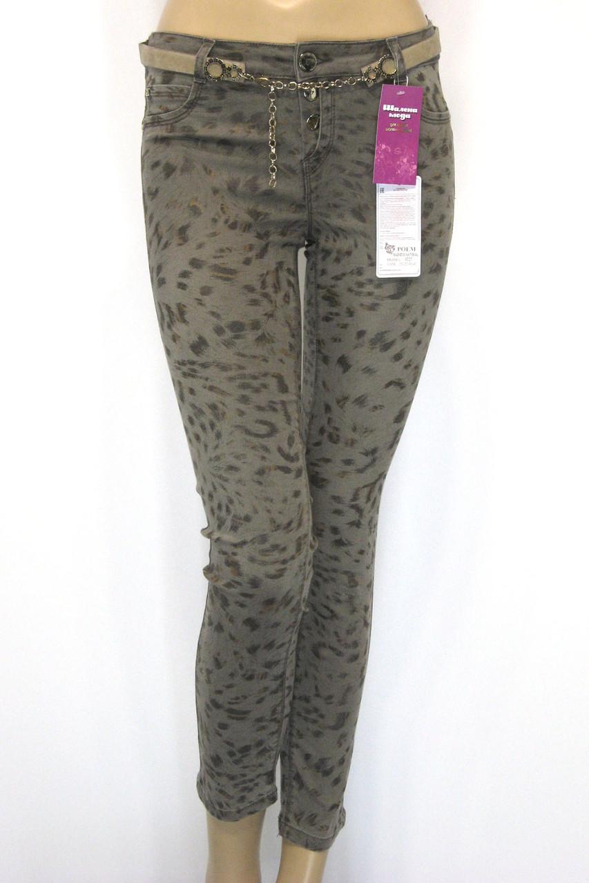 модні коричневі джинсиз леопардовим принтом Poem