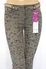 модні коричневі джинсиз леопардовим принтом Poem, фото 3
