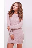 Вязаное женское платье 143 пудра ТМ Glem 44-48 размеры