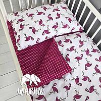 """Детское односпальное постельное белье в кроватку Warmo™ """"Розовые фламинго"""""""