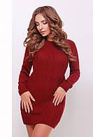 Вязаное женское бордовое платье 143 ТМ Glem 44-48 размеры