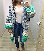 Кардиган-пальто об'ємного в'язки з пряжі Maxi 100% вовна мериносів, фото 1