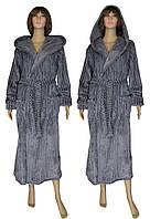 Халат женский махровый длинный с капюшоном 19006 Rel'ef Grey вельсофт, р.р.48-58, фото 1