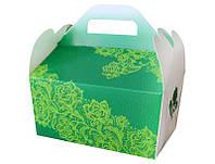 Коробочка для каравая зеленая с узлрами