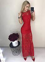 Элегантное выходное вечернее длинное облегающее платье с гипюром кружевом красное 42-44 44-46, фото 1
