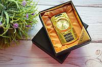 """Зажигалка """"Часы с подсветкой"""" в подарочной коробочке золотистые, фото 1"""