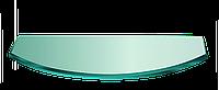 Полка НСК прямоугольная радиусная стеклянная 800ммх150ммх8мм, прозрачная., фото 1