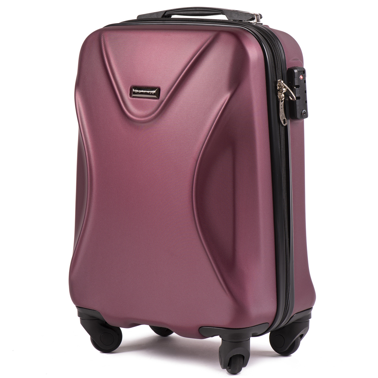 Малый пластиковый чемодан Wings 518 на 4 колесах бордовый