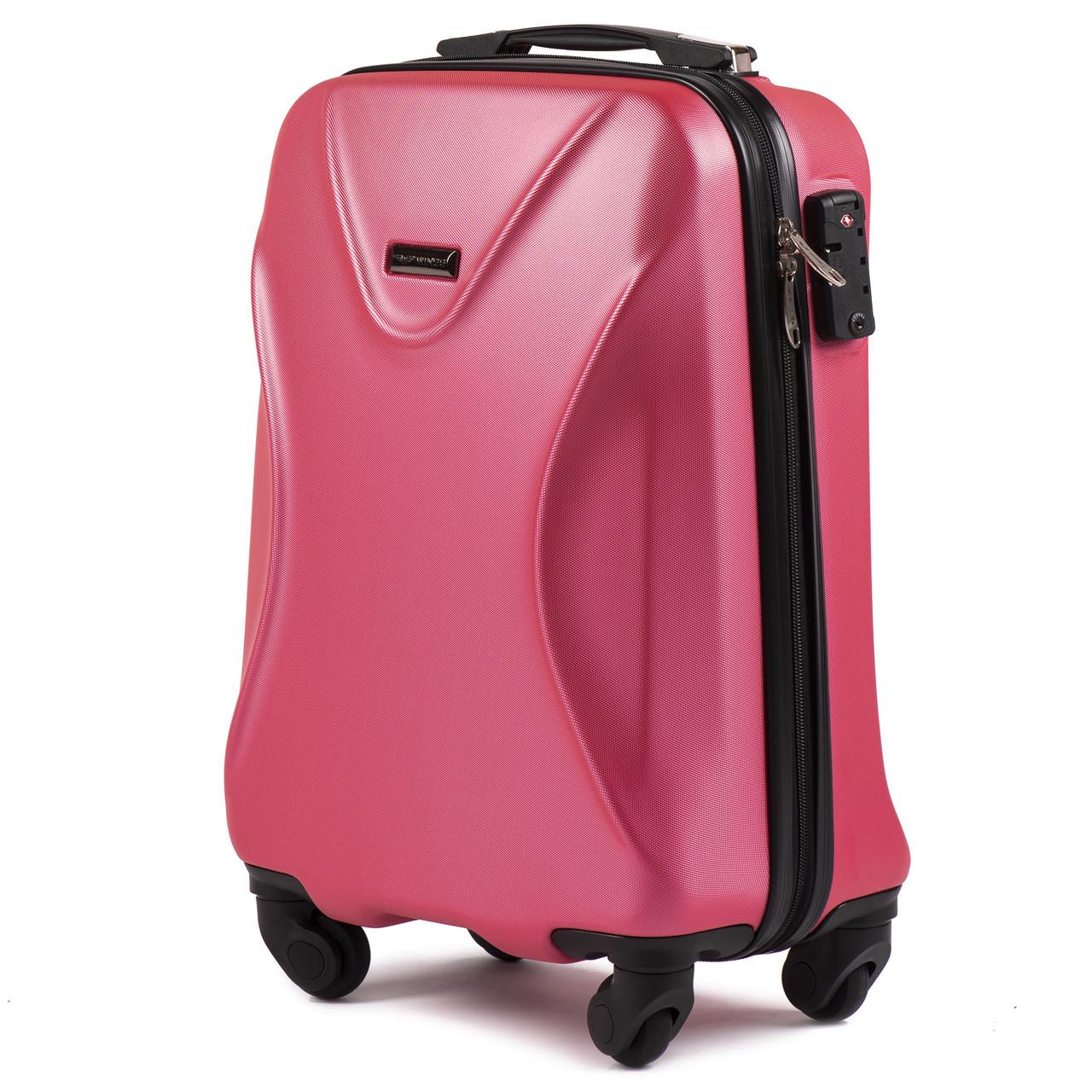 Малый пластиковый чемодан Wings 518 на 4 колесах розовый