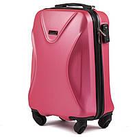 Малый пластиковый чемодан Wings 518 на 4 колесах розовый, фото 1