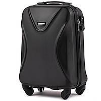 Малый пластиковый чемодан Wings 518 на 4 колесах черный
