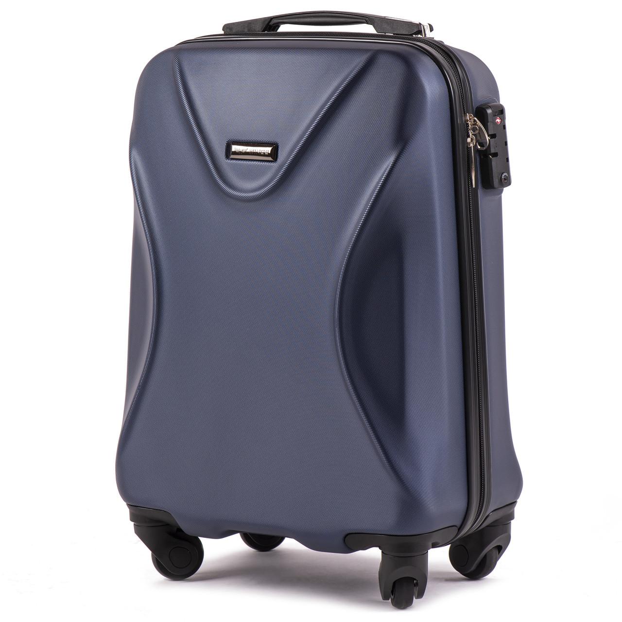 Малый пластиковый чемодан Wings 518 на 4 колесах синий