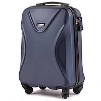 Малый пластиковый чемодан Wings 518 на 4 колесах синий, фото 1