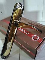 Ручка дверная на планке CORONA STLYale 85 mm GP/BN, золото/черный