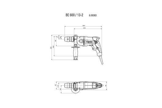 BE 600/13-2 Дриль 600Вт,31/9 Нм, 0-750 / 0-2500 об/хв,сталь/дерево-13/37 мм,ШЗП Futuro TOP 1-13мм, 1.9 кг., фото 2