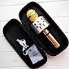 Bluetooth мікрофон-караоке WS-858 GOLD В ЧОХЛІ з динаміком (колонкою), слотом USB, FM тюнером, фото 2