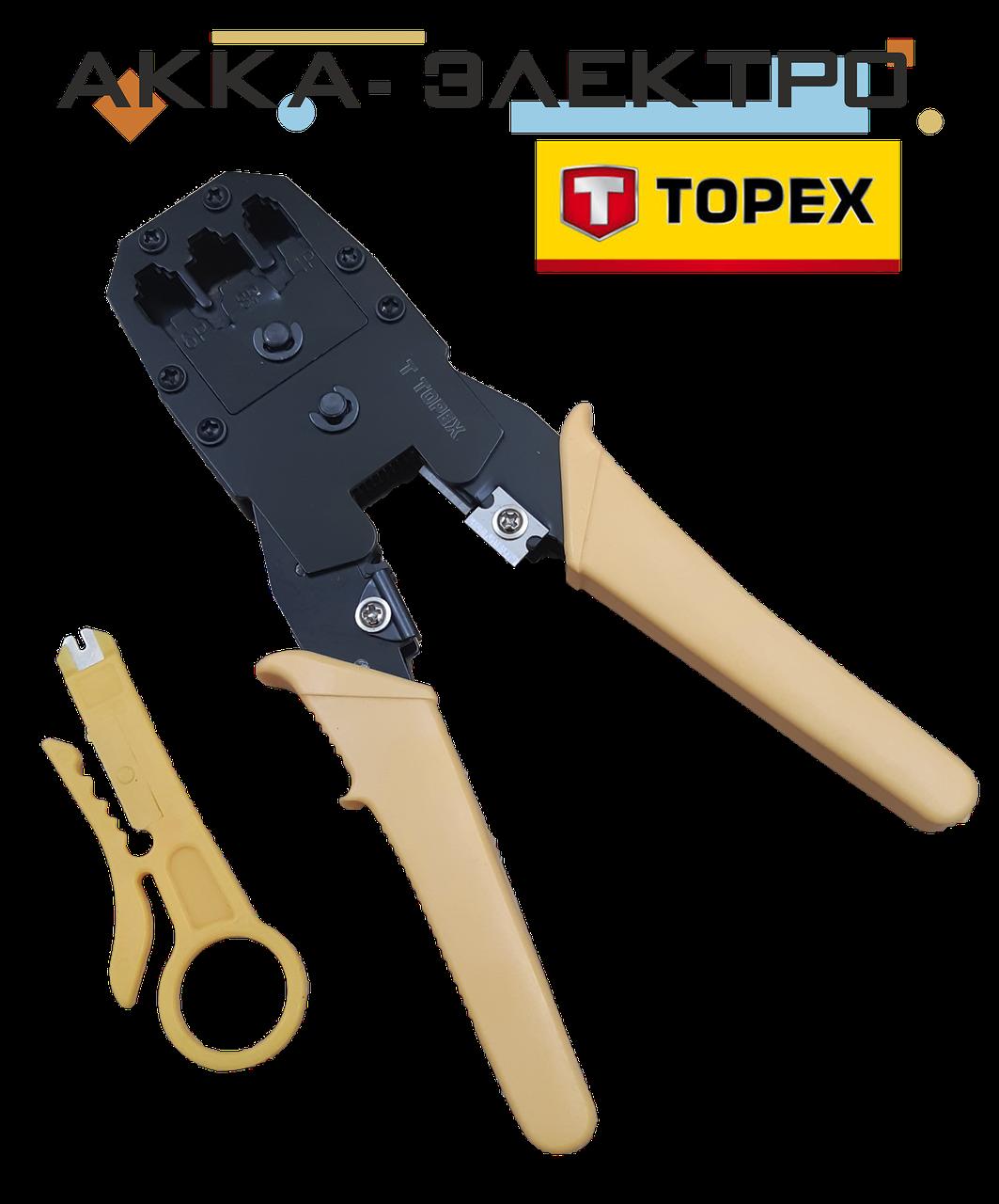 Клещи для наконечников 4P, 6P, 8P, обрезиненные ручки, ножик для снятия изоляции TOPEX (320409)