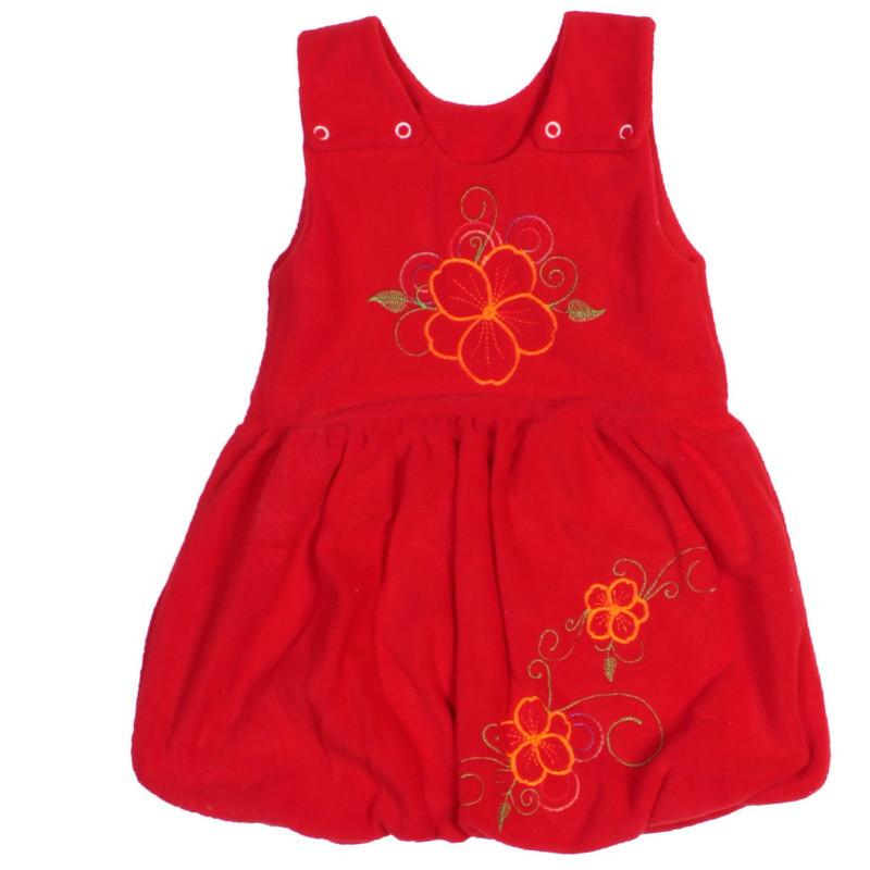 Сарафан для девочки с вышивкой флис красный