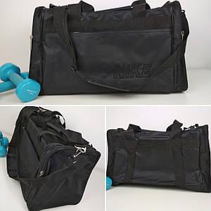 Черная текстильная спортивная сумка с ручками и плечевым ремнем 47*30*22 см