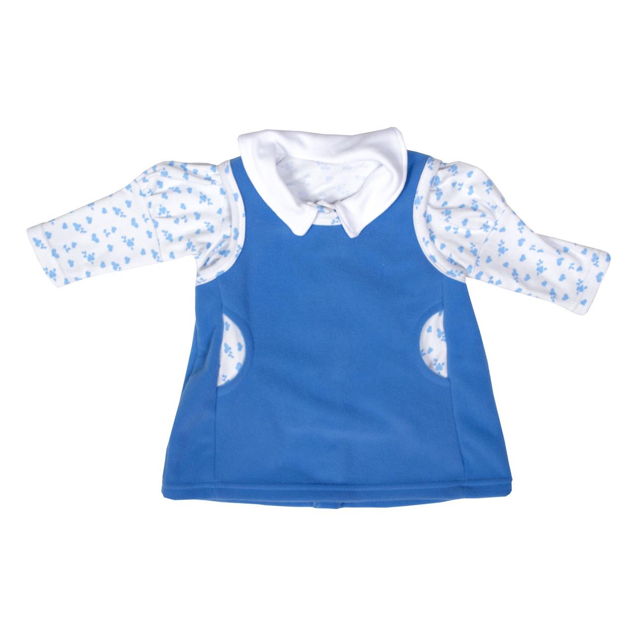 Сарафан с блузой для девочки флис голубой