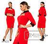 Платье женское из креп дайвинга с вырезом на груди (3 цвета) - Красный SD/-629