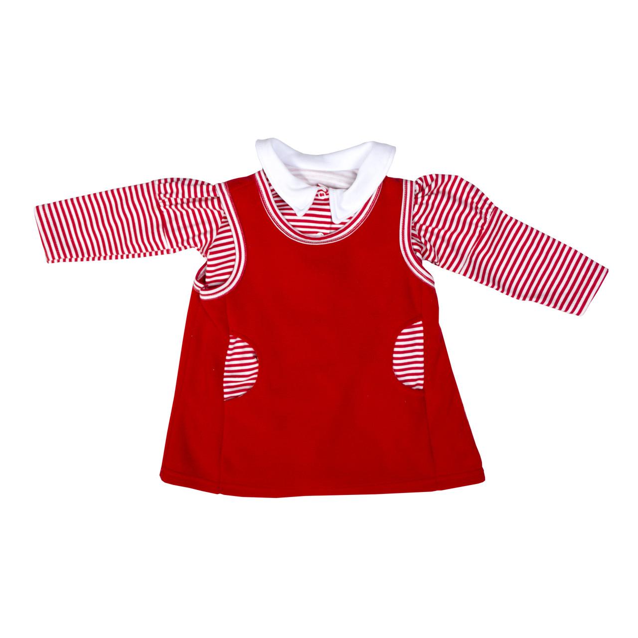 Сарафан с блузой для девочки флис красный