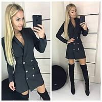 Элегантное стильное платье пиджак на пуговицах чёрное 42-44 44-46, фото 1